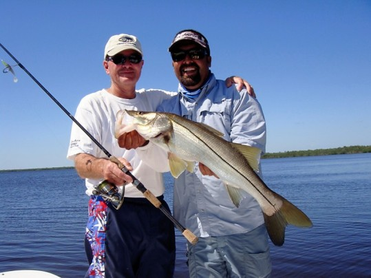 Dan Langdon (left) and Captain Pablo Rodriguez with a nice Everglades snook