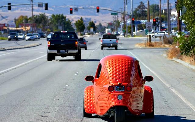 The Corbin Sparrow 2 is a three-wheel EV made in Hollister, California.