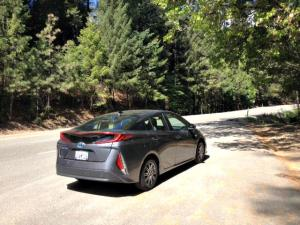 2017 Toyota Prius Prime plug-in. 53.3 mpg in after first fill-up during the Amgen Tour of California. Image © James Raa/2017.