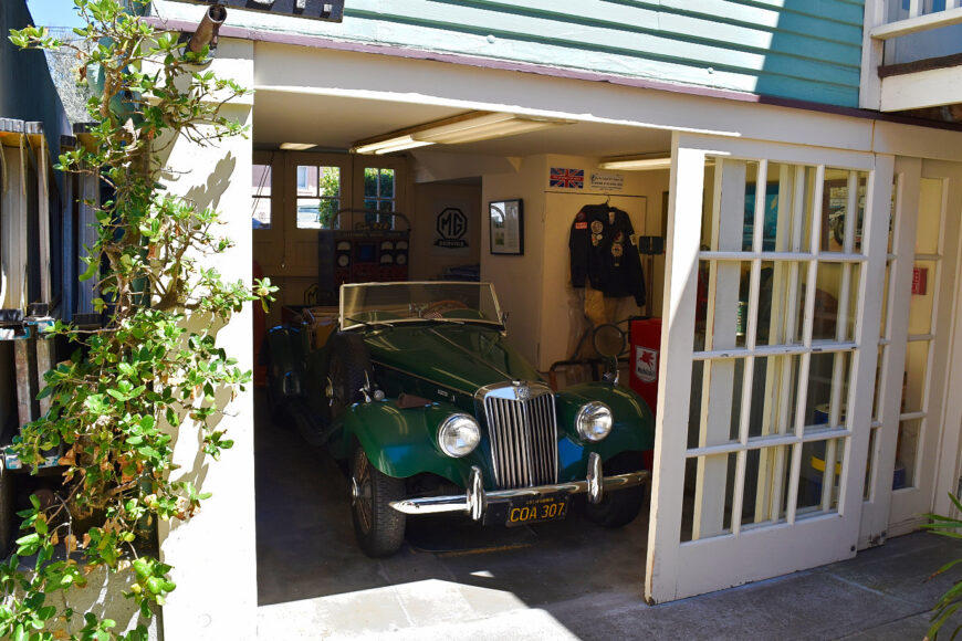 One of the vintage MG beauties on display at the Martine Inn in Pacific Grove, California.