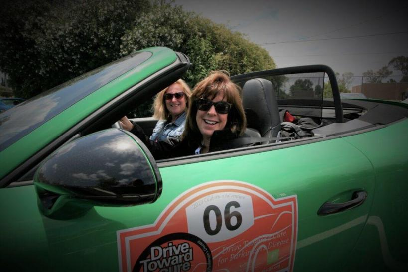 Deb Pollack (driving) is the founder of Drive Toward A Cure. It raises money to battle Parkinson's.