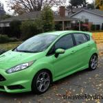 The 2013 Ford Fiesta has an exterior color of bright lime green.