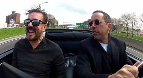 Ricky Gervais (L) and Jerry Seinfeld are all laughs during an episode of Comedian in Cars Getting Coffee.