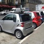 Several 2012 Smart Fortwos all in a row