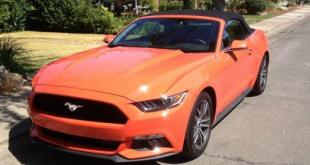The aggressive front end of the newly designed 2015 Ford Mustang.