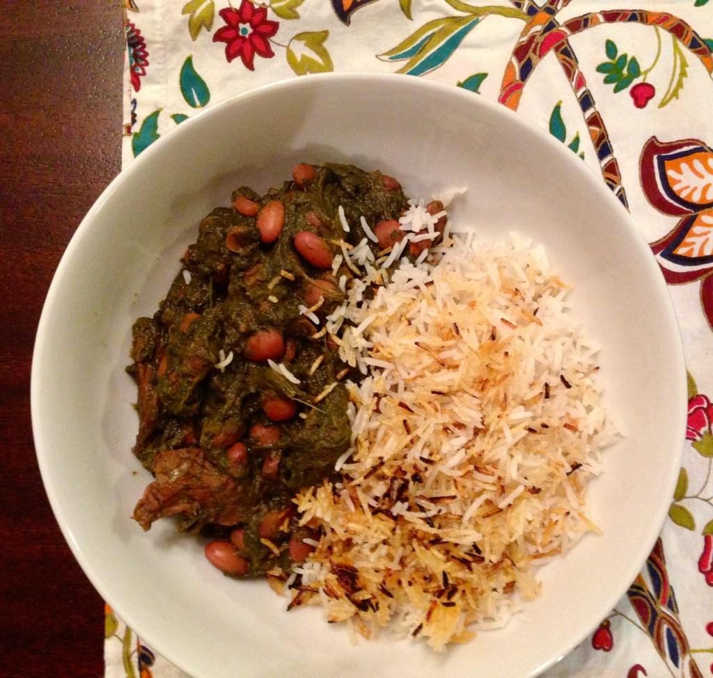 ghormeh sabzi and crispy basmati rice