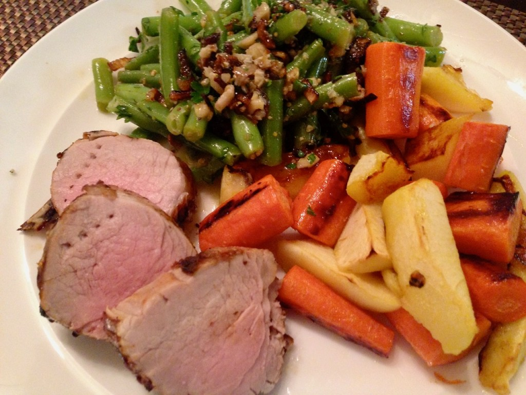 apple cider brined pork tenderloin with roasted carrots, apples, and fancy green beans