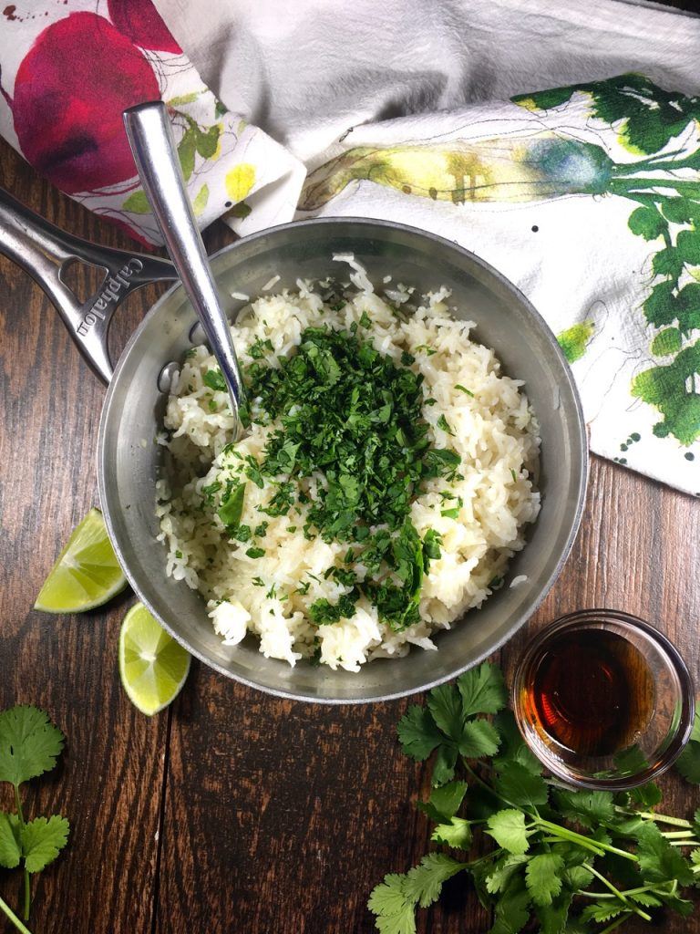 Basmati rice with cilantro, garlic, lime and agave - gluten-free and dairy-free