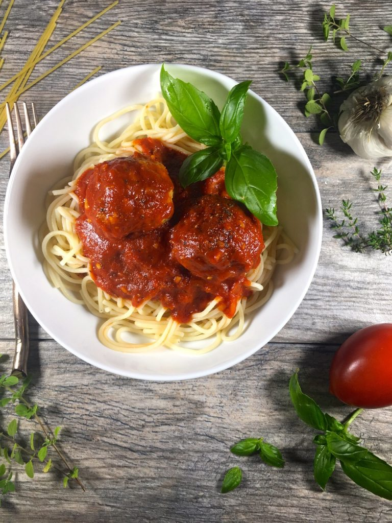 gluten-free, dairy-free spaghetti and meatballs