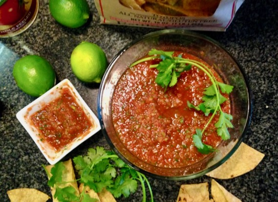 homemade red salsa with roasted veggies