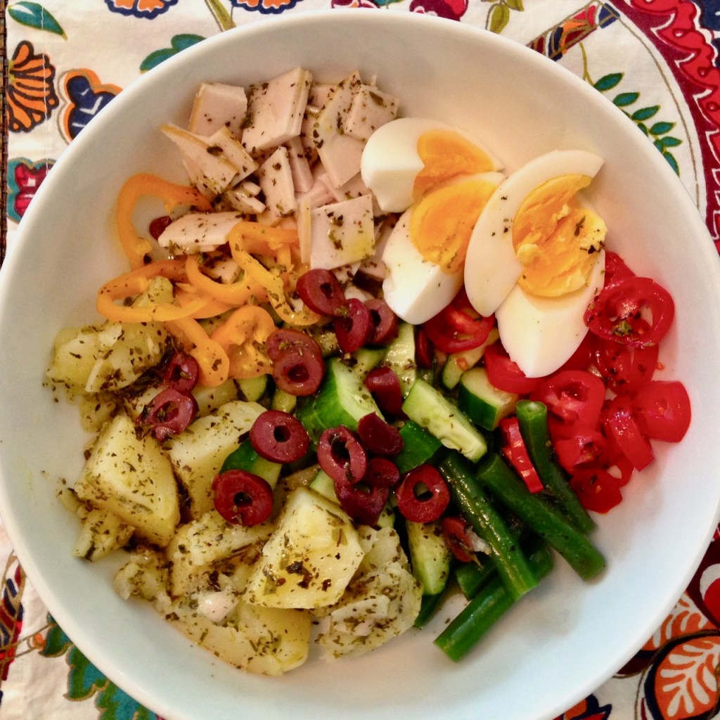 Salad Nicoise with Deli Turkey and Homemade Dressing
