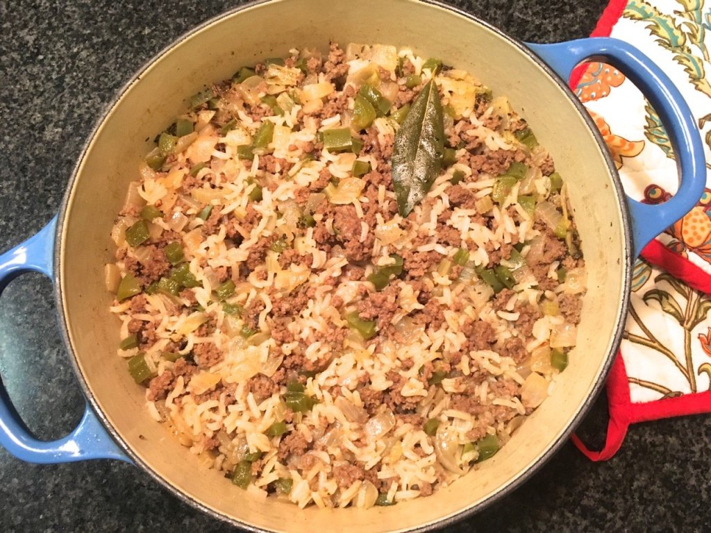 Cajun Bison Dirty Rice made from scratch using Cajun spice blend