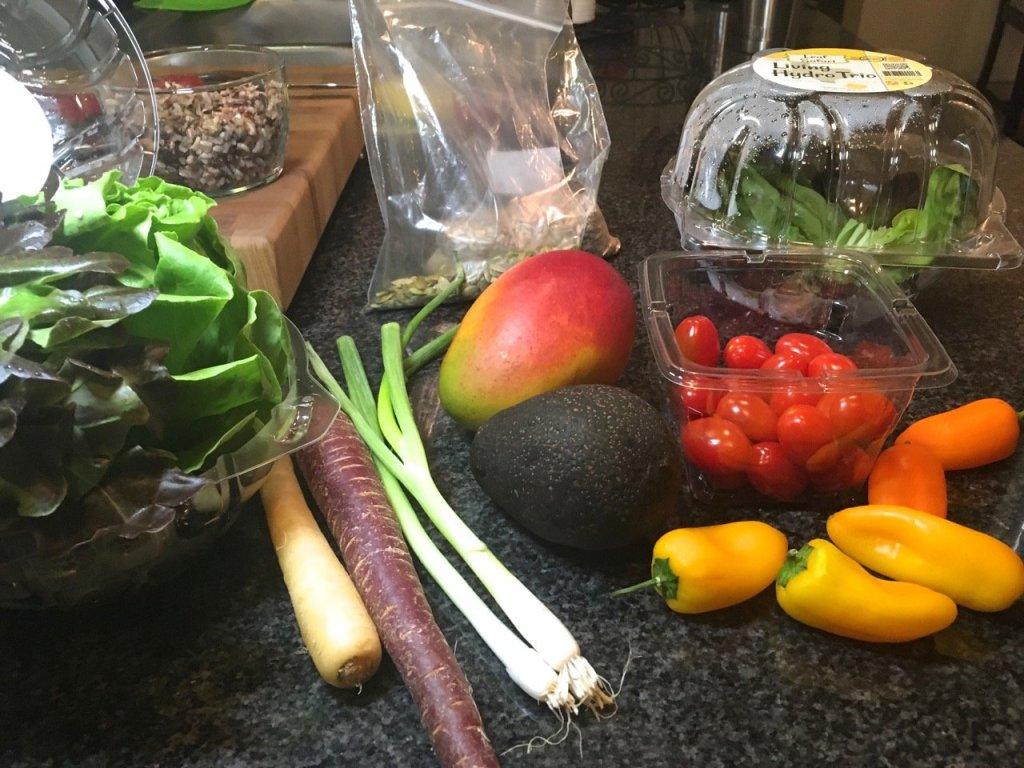 mango, black beans and wild rice salad