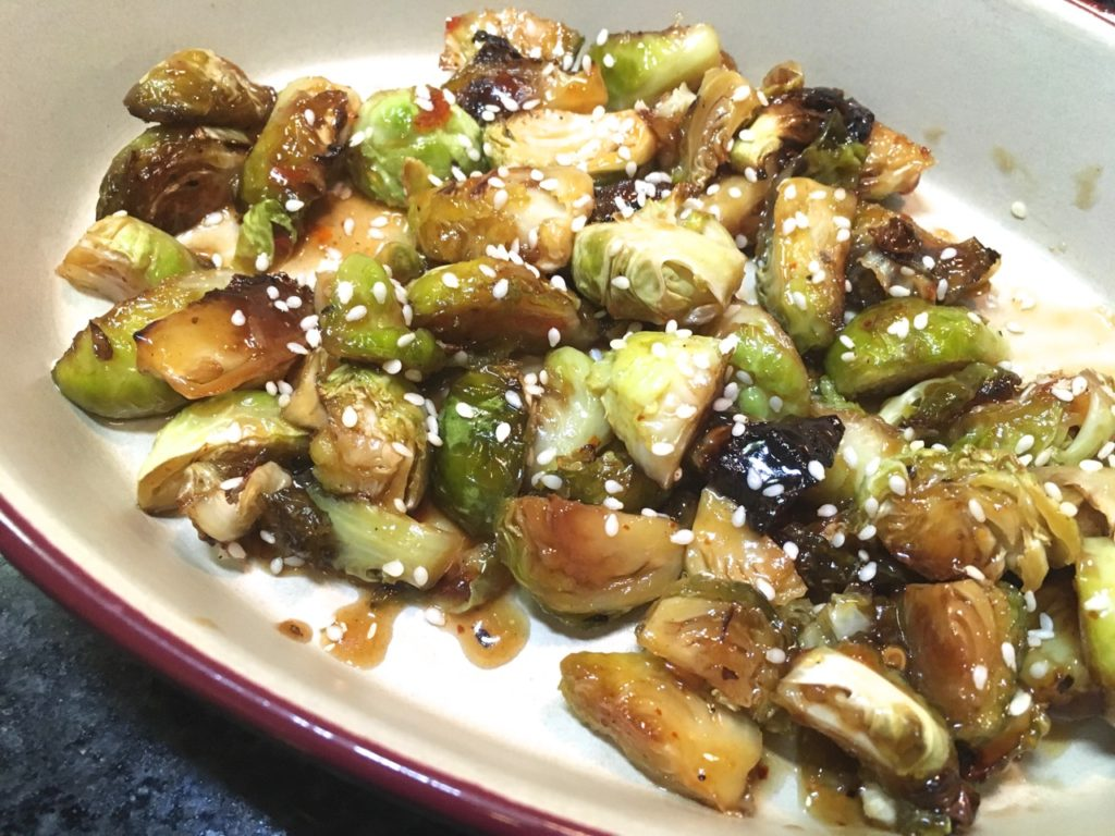 Sweet Chili Sauce Roasted Brussels Sprouts | Gluten-free, Dairy-Free
