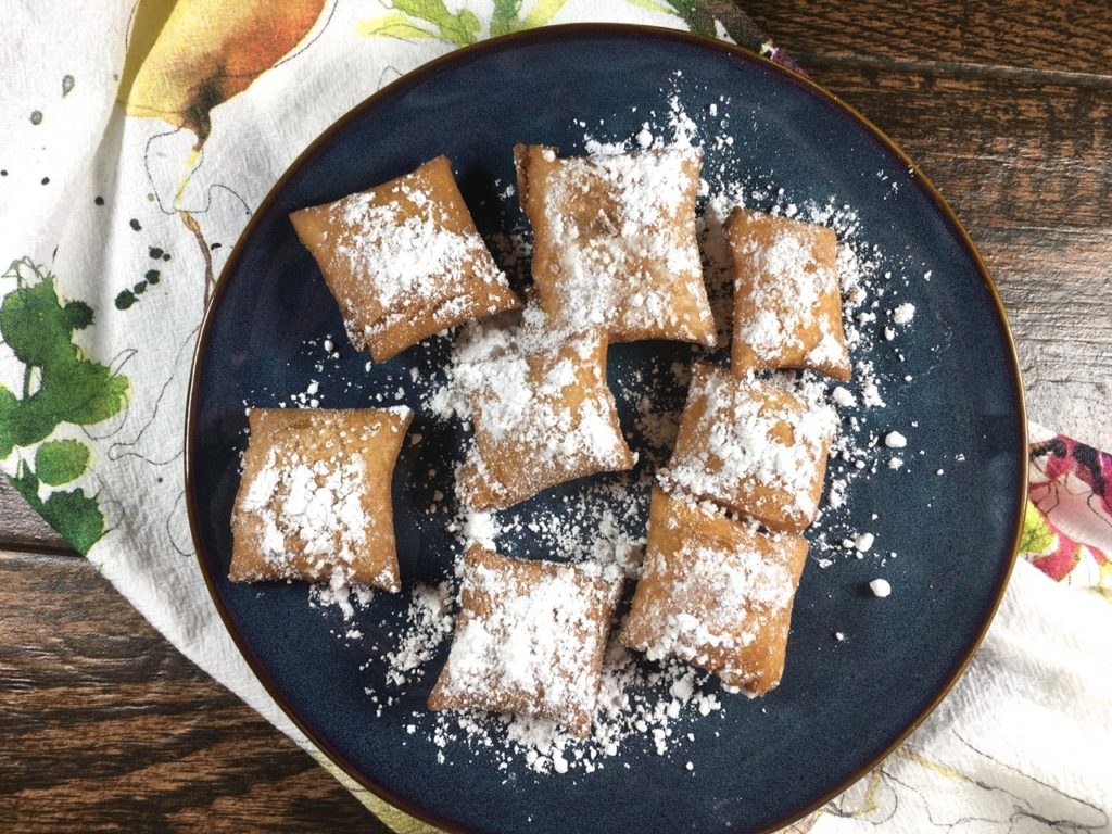 gluten-free, lactose-free puff pastry beignets made with schar puff pastry dough and organic powdered sugar