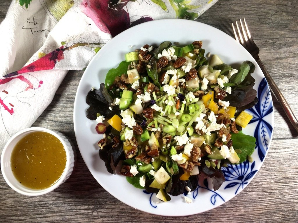 seasonal salad with honey apple cider vinaigrette