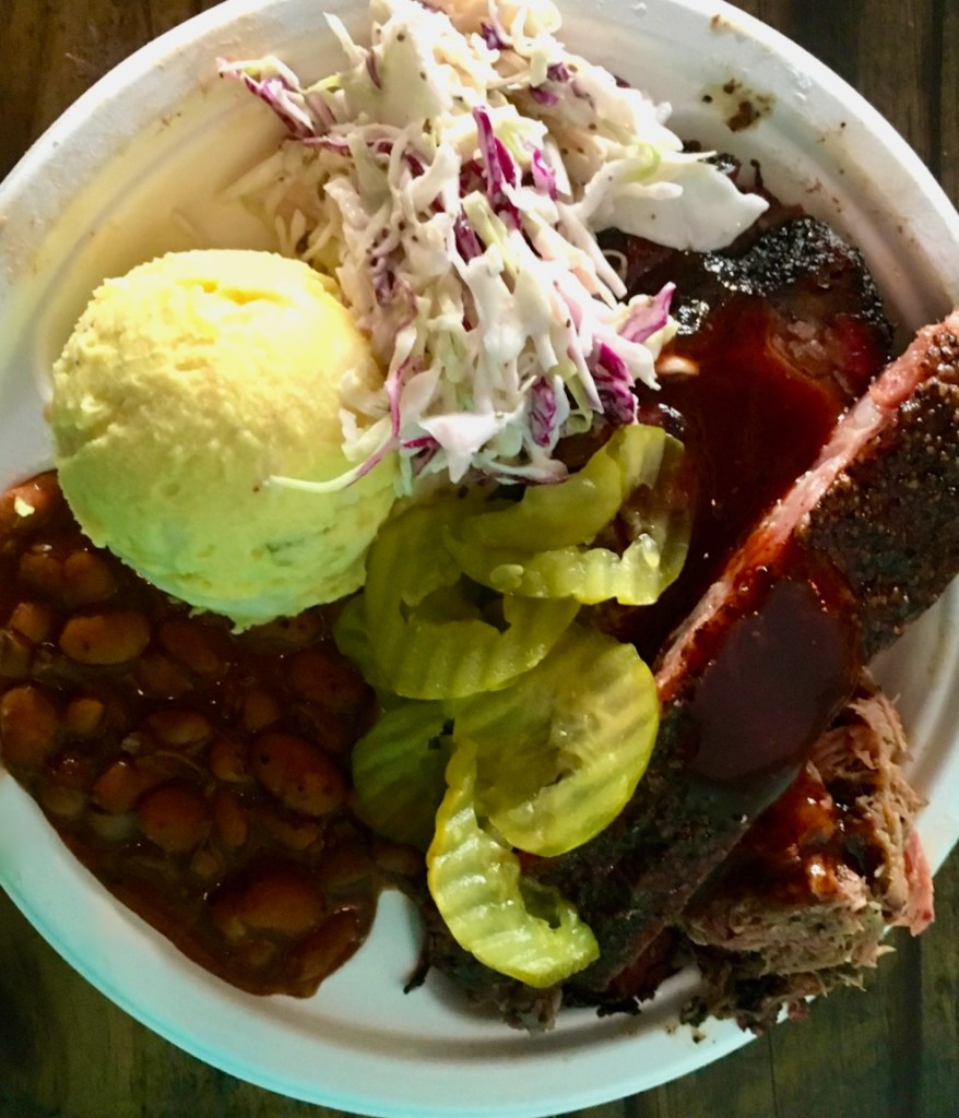 Full BBQ plate with sides at Franklin BBQ