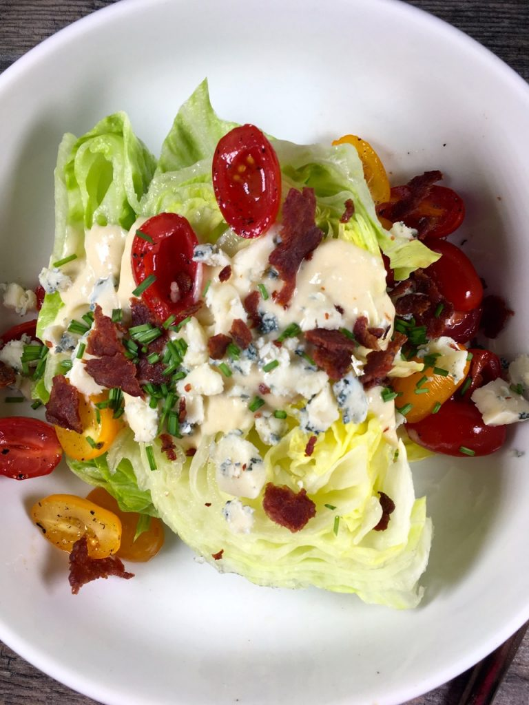 Gluten-Free, Wedge Salad using goat milk blue cheese