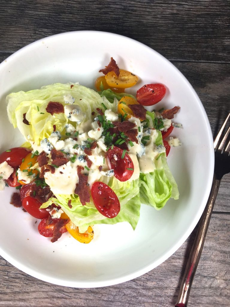 Wedge salad made with goat cheese blue cheese