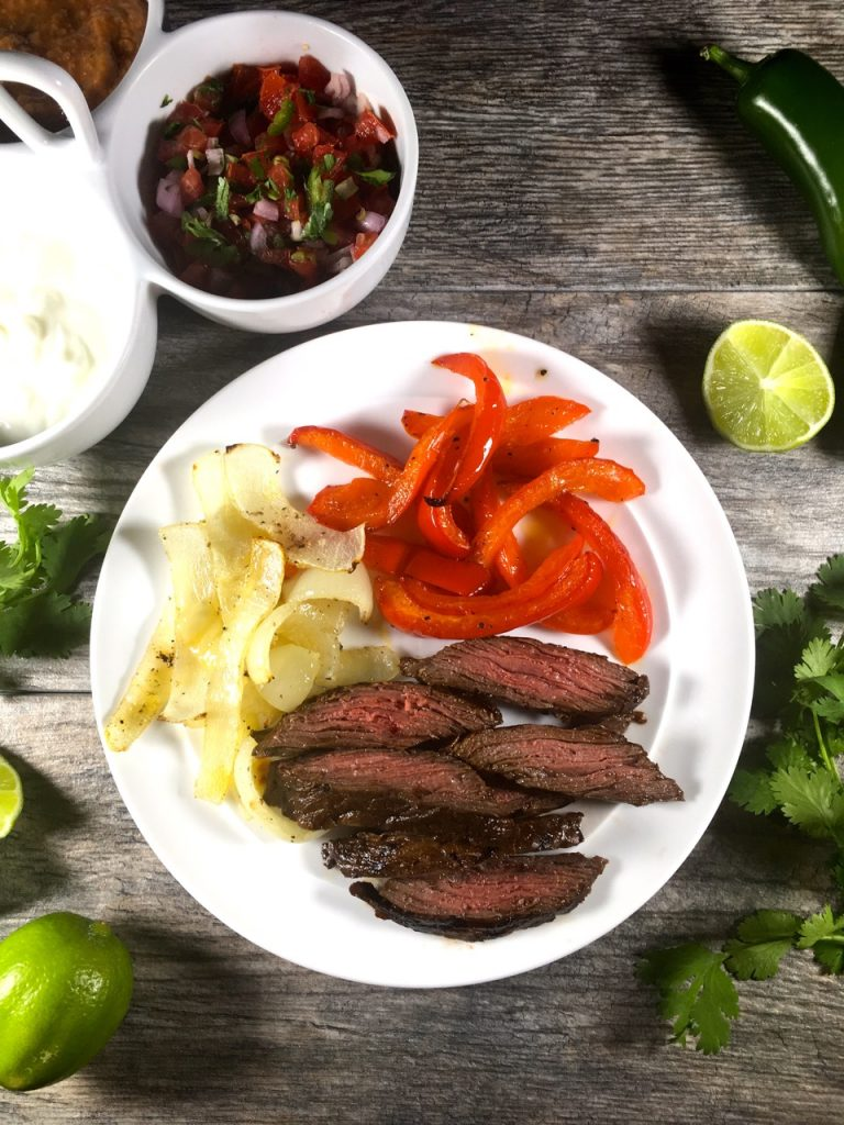 Pepper Lime Fajitas with Roasted Onions, Red Peppers, Pico De Gallo