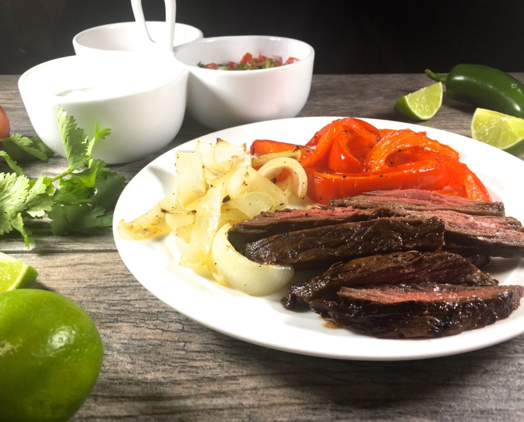 Pepper Lime Fajitas with Roasted Peppers and Onions