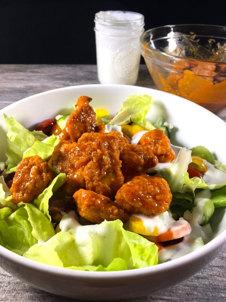 Gluten-Free Buffalo Fried Chicken Salad with Blue Cheese Dressing