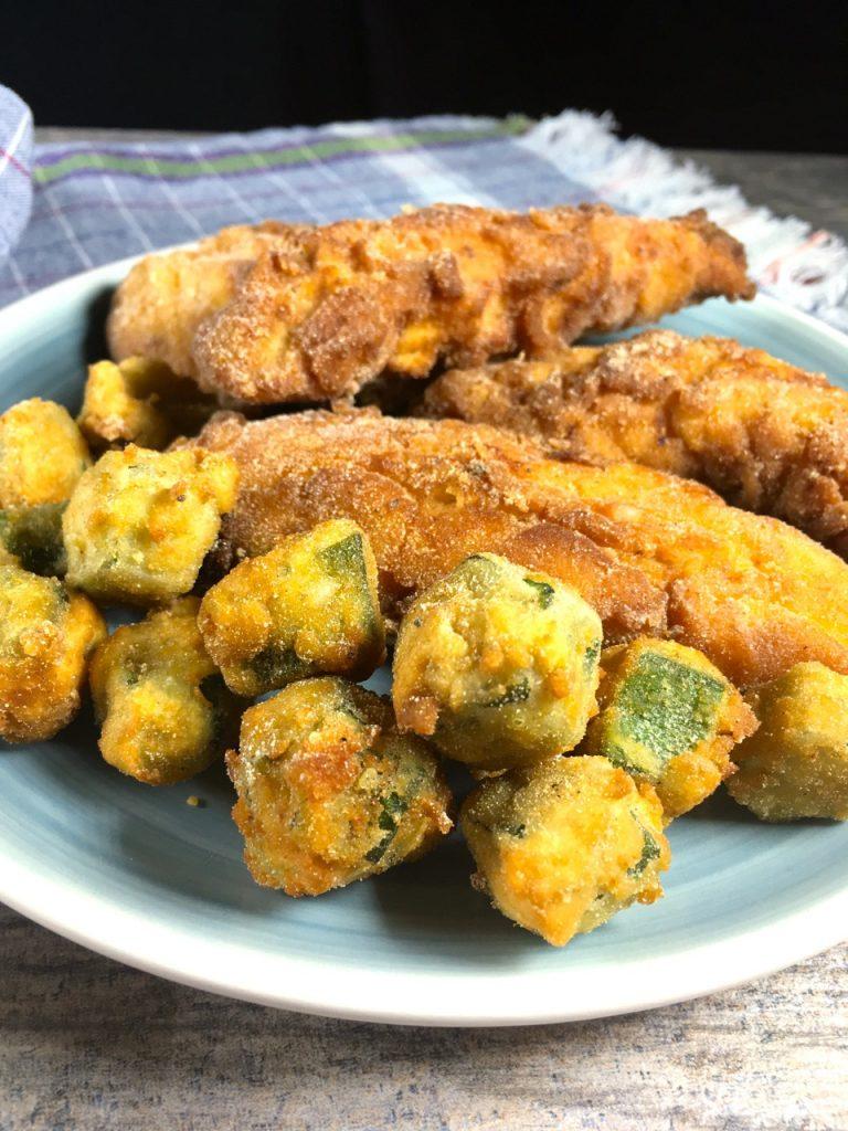 Gluten-Free Fried Chicken and Okra