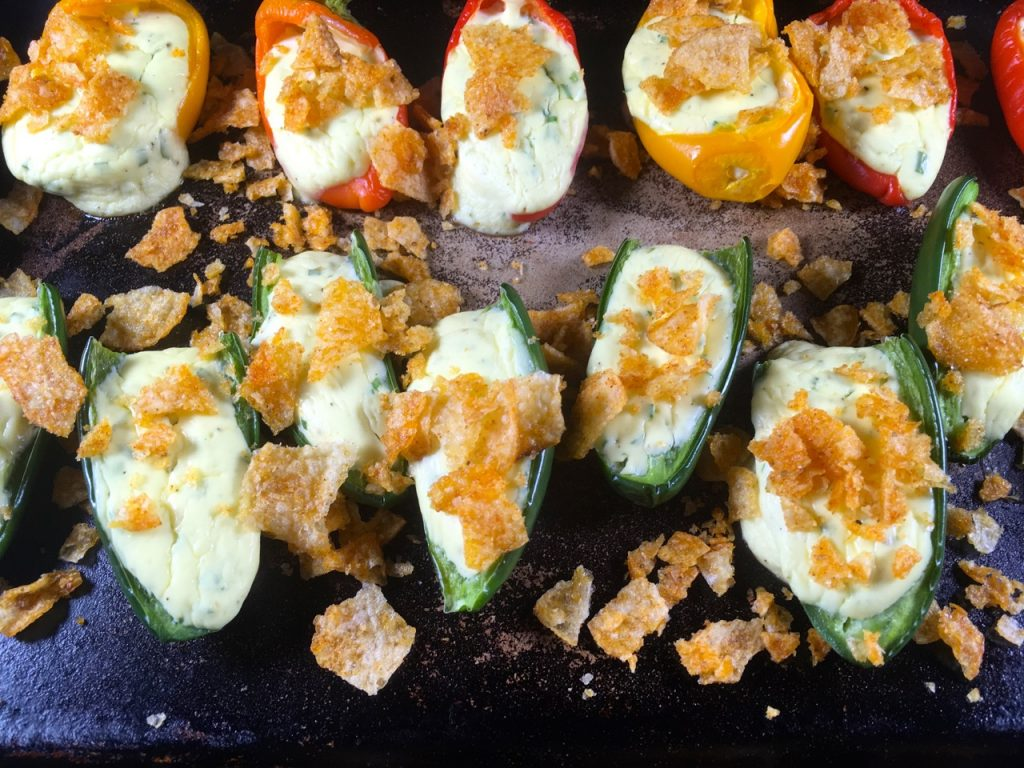 Baked Vegetarian Jalapeño and Sweet Pepper Poppers | Gluten-Free, Goat Cheese