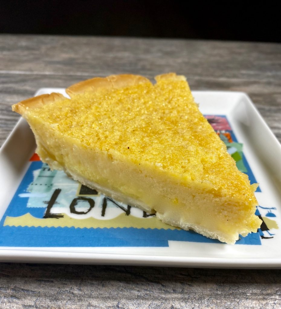 Let pie cool and chill before cutting a delicious slice of your buttermilk pie