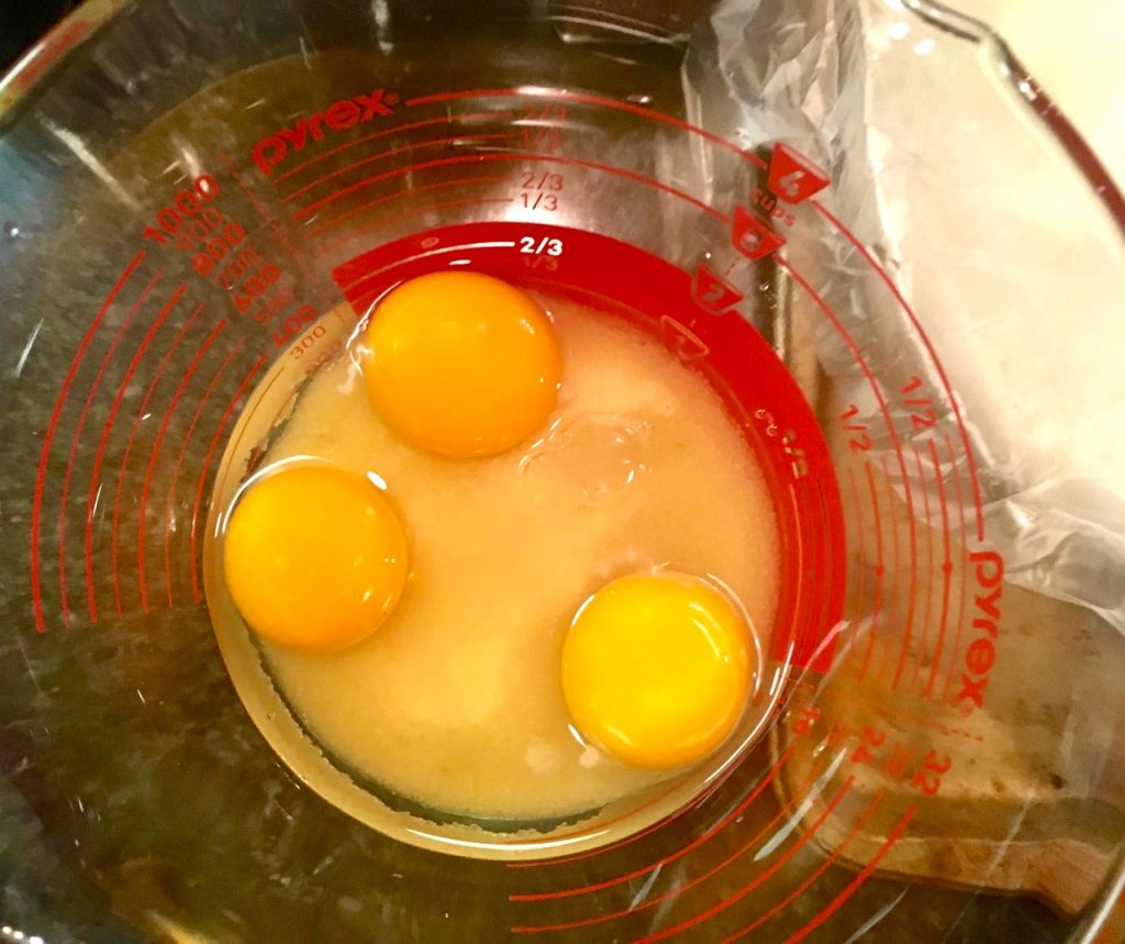 Mix together three eggs and organic sugar from Wholesome sugar in a 4-cup Pyrex measuring cup
