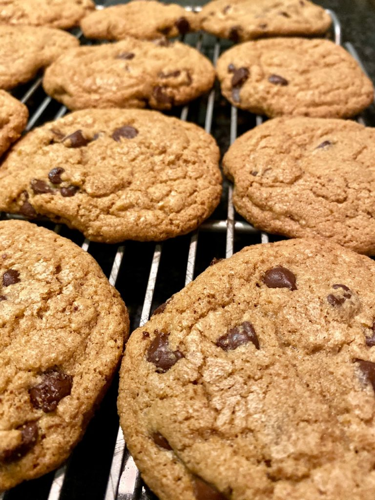 Gluten-Free chocolate chip cookies on a cooling rack