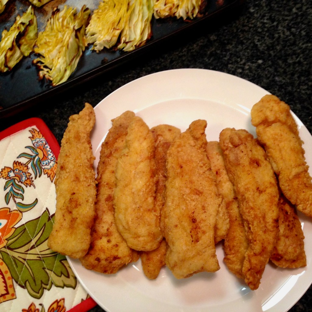 fried chicken tenders with roasted cabbage