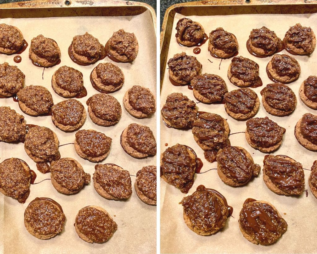 Once the cookies have been placed on the chocolate, add the caramel substitute mixed together with the toasted coconut.  Then drizzle with chocolate.