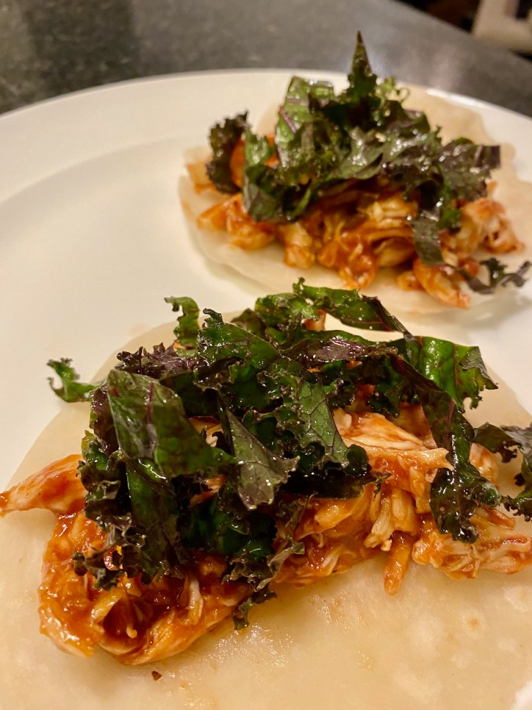 BBQ Chicken Tacos with Homemade Flour Tortillas and Kale Coleslaw