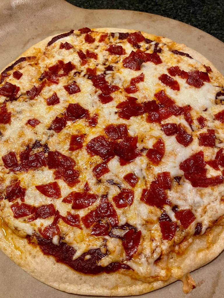 Zeia Gluten-Free Pizza Crusts and Bella Capra semi-soft goat cheese topped with pepperoni