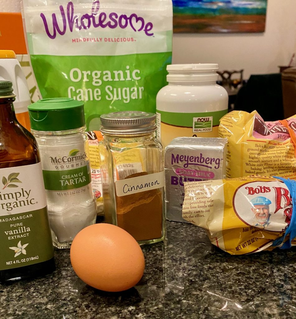Ingredients for Gluten-Free Sorghum Millet Snickerdoodle Cookies