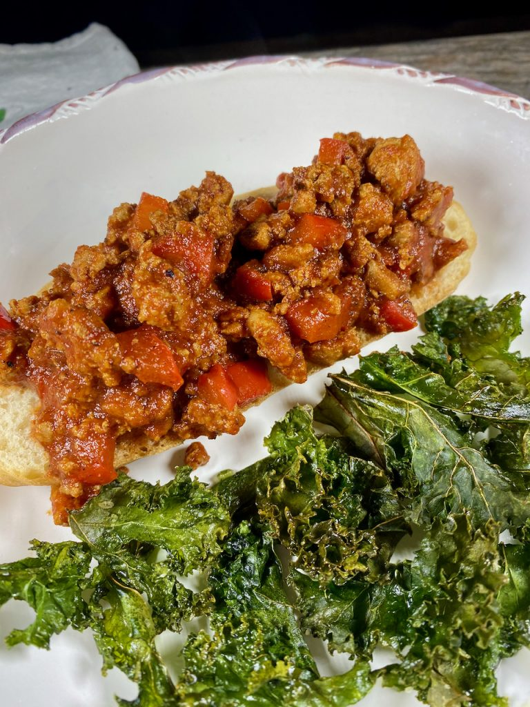 Healthified Turkey Sloppy Joes with Homemade Kale Chips