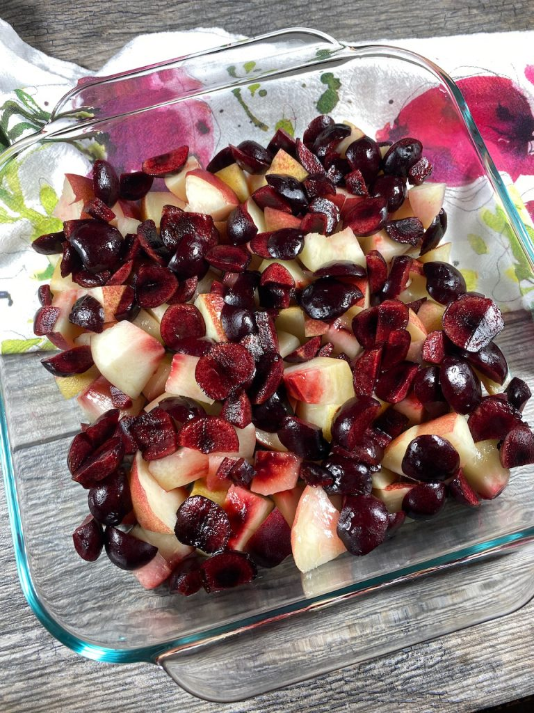 Cherry Nectarine Fruit Cut Up for the Crumble