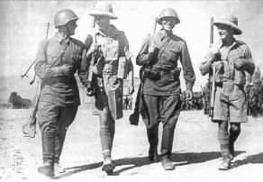 UK and Soviet soldiers patrol Tehran together, 1941.