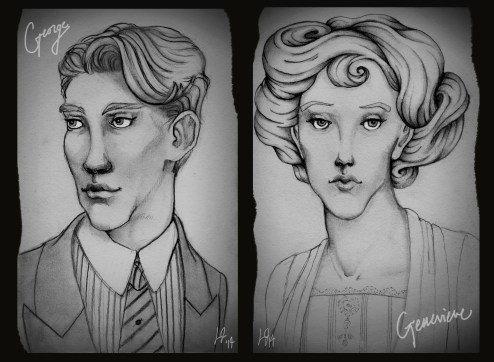 Quick pencil sketches of George and Genevieve as adults, channeling styles from the mid-late 1910s. I was inspired a little bit by the vintage photo style of Boardwalk Empire's promo pics