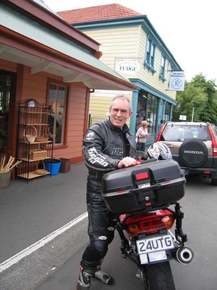 Richard tries out the bike