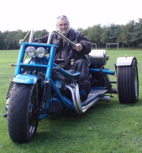 My brother Steve on a trike he built…