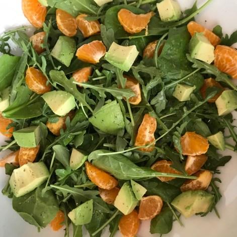 Spinach Arugula Mandarin Avocado Salad
