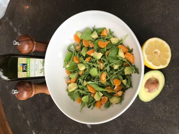 The Well-Intended, Spinach, Arugula, Avocado, Lemon, Olive Oil, Salt, Pepper