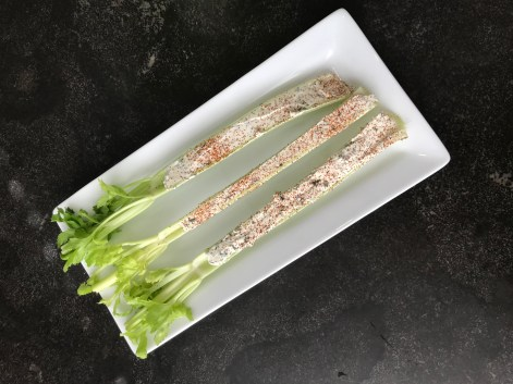 The Well-Intended Non-Dairy Cream Cheese Stuffed Celery with Paprika