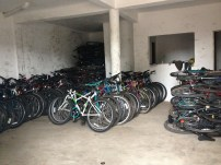 Here's the warehouse where we store the bikes before transporting them from Accra to the Bush.