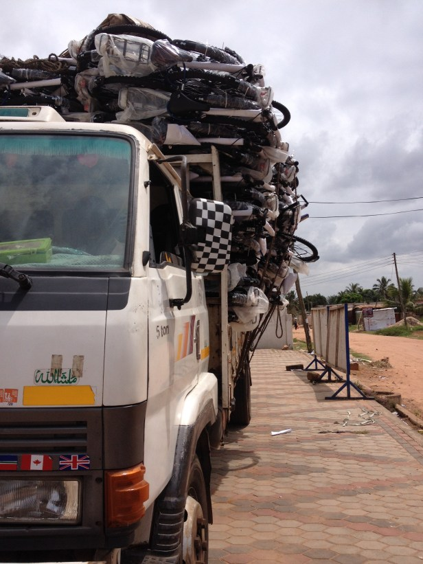 How do we get 5000 bikes into the bush? By truck of course!