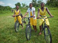 These three girls ride to school together everyday, and came early that morning to practice their new skillz.