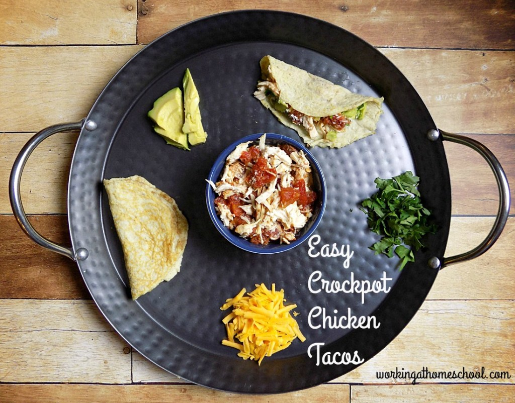 Delicious, easy chicken tacos that work for THM! Less than 5 minutes of prep for the crockpot!