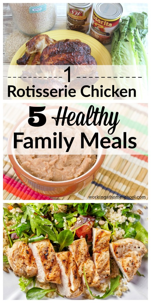 1 store-bought rotisserie chicken made into 5 healthy family meals! They're all gluten-free and Trim Healthy Mama, too. This is saving me SO much time - these healthy meals are so easy!